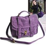 Purple Suede Messenger Fold Over Bag