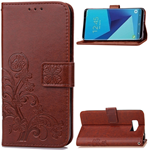 Samsung S7 Cell phone clover-leaf brown wallet