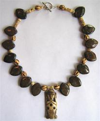African Tribal and Bronzite Necklace