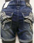 Cello Jeans - Dark Wash Denim Shorts with Crystals #C-20045