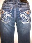 La Idol Capris - Denim Capris Destroyed with Crystals and White Stitching #978RCP