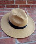 KELLY & KATIE MENSWEAR-STYLED CAMEL TAN WOVEN STRAW/BLACK HATBAND FEDORA HAT