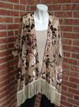 MASSINI TAUPE FLORAL BURNOUT FRINGE TRIMMED SHEER KIMONO