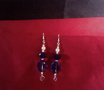 Blue Crystals with Pearl and Chain Maille Accents Earrings- FREE AVON LIPSTICK