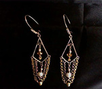 Gold and Silver Tone Chain Maille Earrings with Crystals and Pearls