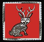 "Art Tin 4""x 4""- ""Jackalope"""
