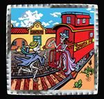 "Art Tin 6""x 6""- ""Santa Fe Run-Away Train"""