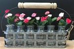 Flower vases in carrier