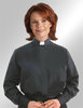 CLERGY SHIRT-WOMEN'S LS TAB BLACK