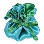 Blue & Green Satin Jewelry Pouch-9 Compartment