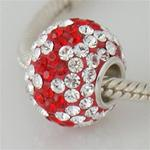 Red & White Swarovski Crystal Colossal Bead w/Chain