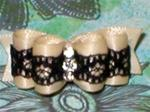 5/8 or 7/8 Cream Black Lace Triple Rhinestone +
