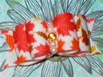 5/8 or 7/8 Autumn Leaves Orange Dog Bow +
