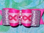 5/8 7/8  Hot pink Silver Breast Cancer Awareness bow