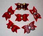6 PACK X-SM RED SHOW BOWS W/ RHINESTONES +