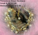 Rhinestone bows & Pearls necklace