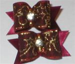 PAIR BURGANDY HOLLY CHRISTMAS