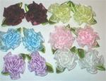 SET OF 6 PAIR CABBAGE ROSES W/ BARRETTES
