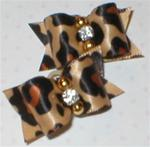 Pair x-sm Animal Print Satin Bows