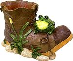 Boot Planter With Frog