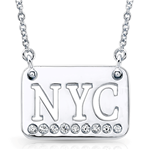 "10k White Gold & Diamond NYC License Plate Necklace with 16""-18"" Chain"
