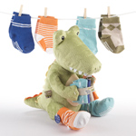BABY ASPEN CROC IN SOCKS 'PLUSH TOY AND BABY SOCKS GIFT SET (Green)