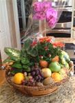 DELUXE FLORAL, FRUIT AND MIXED NUT GIFT BASKET (LARGE)