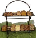GOURMET GIFT BASKET-TWO TIER CAKE AND PASTRY SERVER