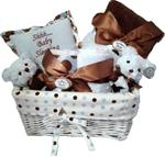 BEARINGTON BABY POSH DOTS BLUE GIFT BASKET SMALL