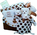 BEARINGTON BABY POSH DOTS BLUE GIFT BASKET LARGE