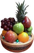 DELUXE FRUIT BASKET//BAMBOO INLAY SALAD BOWL GIFT- BLACK