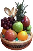 DELUXE FRUIT BASKET//BAMBOO INLAY SALAD BOWL  WITH SERVERS GIFT- BLACK