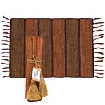 VETIVER PLACEMAT SET-BRICK STRIPE