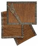 VETIVER PLACEMAT SET-CHOCOLATE TRIMMED SET OF FOUR