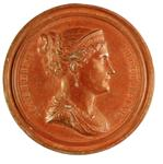 Undated (circa 1810), France. EMPRESS MARIE LOUISE.  By Bertrand Andrieu. Uniface bronzed-lead cliché 68mm.