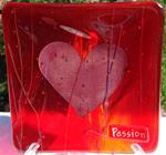 Passion - Red Small Sized Fused Glass Intention Plate