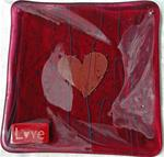 Love - Cranberry Fused Glass Intention Plate