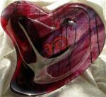 Red Fused Glass Heart Bowl