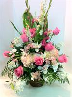 Best of the Season Sympathy Floor Basket in Pink