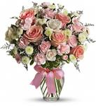 Pink and White Bowed Vase Deluxe