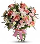 Pink and White Bowed Vase Premium