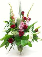 Valentine Best of the Season Footed Vase Red White and Pink