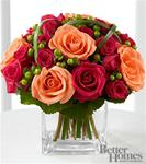 Cube arrangement with roses and berries