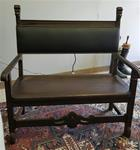 Bench Antique European Wood & Leather