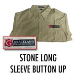Stone Long Sleeve Button Up Collared Shirt