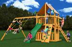 Chateau Clubhouse Swing Set w/ Amber Posts and Sunbrella® Weston Ginger Canopy