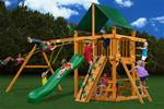 Chateau Swing Set w/ Amber Posts and Sunbrella® Canvas Forest Green Canopy