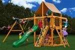 Chateau Swing Set w/ Amber Posts and Sunbrella® Weston Ginger Canopy