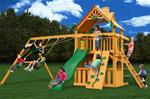 Chateau Clubhouse Swing Set w/ Amber Posts and Deluxe Green Vinyl Canopy