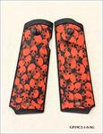 1911 GRIP PANELS ORANGE SKULLS WITH BLACK FRAME - SMOOTH - SUREGRIP